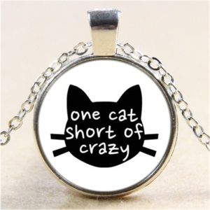 Crazy Cat Lady Cabochon Necklace